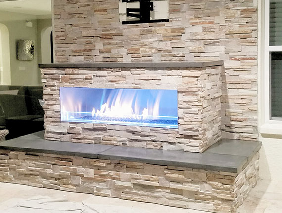Custom outdoor fireplace FL